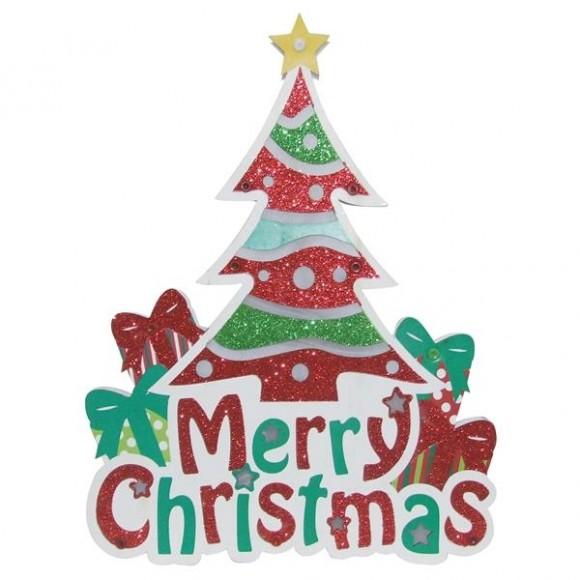 MERRY CHRISTMAS C/ LUZ 37X29X2CM