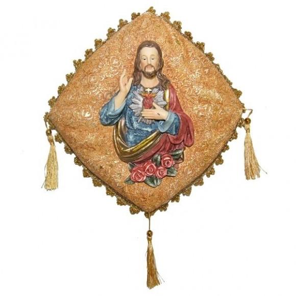 SAG CORACAO JESUS NA ALMOFADA 27CM